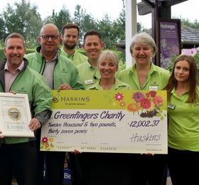 Greenfingers charity receives donation from Haskins Garden Centres