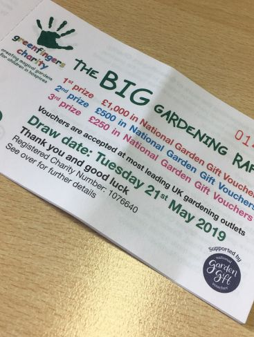 Greenfingers Charity announces Big Gardening Raffle with National Garden Gift Vouchers