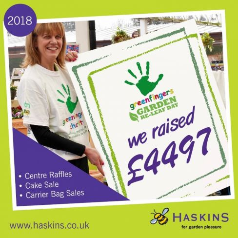 Greenfingers welcomes generous donation from Haskins Garden Centres